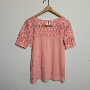 J. Crew Pink Embroidered Blouse Medium